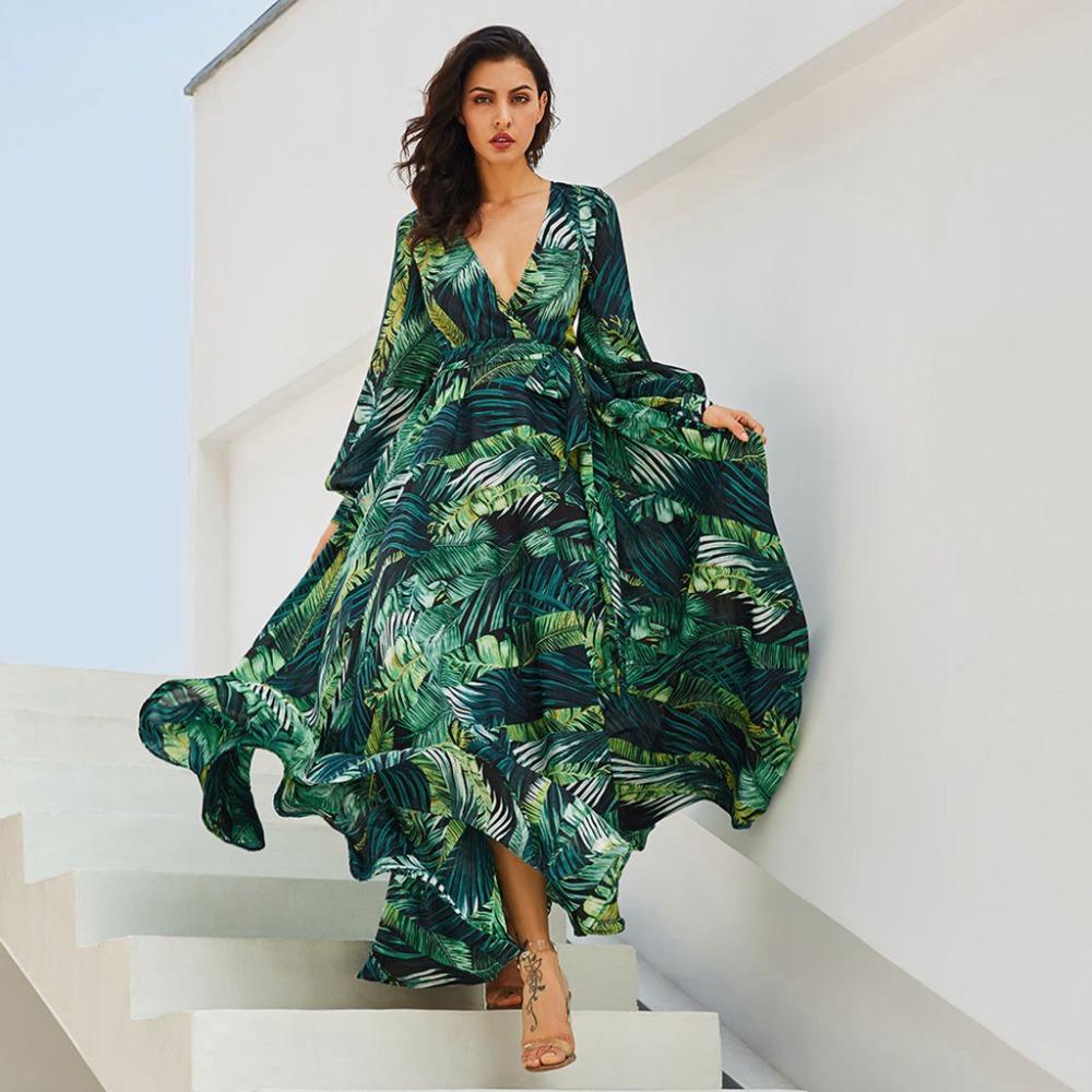 146eb4c282a Vintacy Long Sleeve Dress Green Tropical Beach Vintage Maxi Dresses Boho  Casual V Neck Belt Lace Up Tunic Draped Plus Size Dress White Dresses With  Sleeves ...