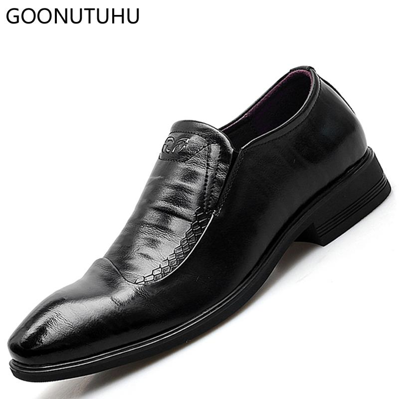 dca847e152 2019 New Men S Dress Shoes Genuine Leather Male Elegant Classic Black Slip  On Shoe Man Loafers Office Work Formal Shoes For Men Cheap Shoes Dansko  Shoes ...