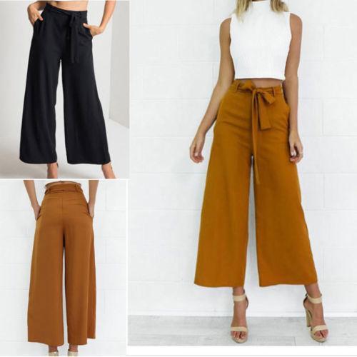 Para Pantalones Mujer Verano Sueltos Moda Largos Culottes Cintura Ancho Sólido Otoño Alta Pierna Palazzo 35ALR4qj