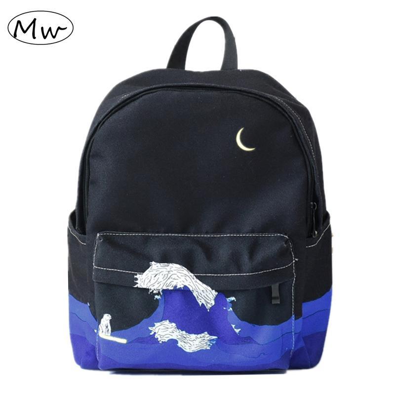 f2766230f4 2019 FashionMoon Wood Original Design Black Blue Print Sea Moon Backpack  Women Casual Canvas Backpack School Bags For Teenager Girls Sac Mens  Backpacks ...