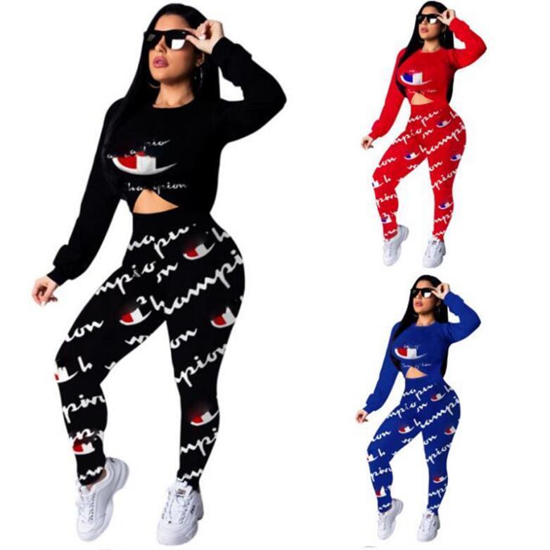 6d70e4a0d8 Women Champions Letter Print Tracksuit Long Sleeve T Shirt Top Pants  Leggings 2PCS Set hoodies Outfits Sportswear Fitness Suit 2019 new