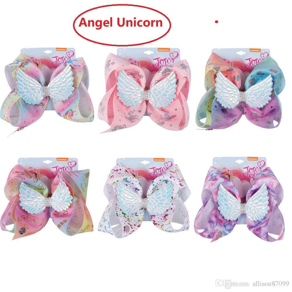 Handmade Unicorn Angel Wing Hair Bows Rhinestone Barrettes Hair