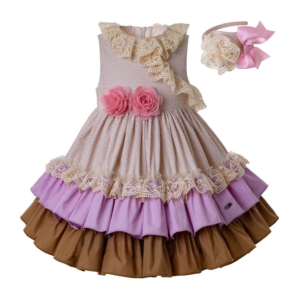 1b85ba9149529 Pettigirl Beige Girls Dresses With Pink Flower Girls Dress For Wedding  Summer Kids Designer Clothes for Girls G-DMGD201-C136