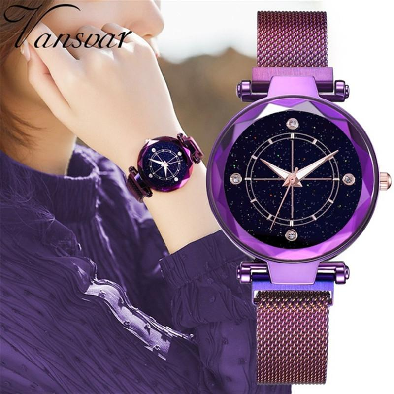 New Magnetic Starry Sky Wrist Watch Luxury Purple Watches For Women Ladies Creative Fashion Diamond Quartz Waterproof Clock Gif