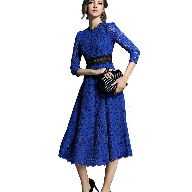 b7edb3b93f47 Spring Autumn Women s Lace Dresses Floral Crochet Hollow Out Swing Dress  3 4 Sleeve Patchwork Party Dress Robe Moulante