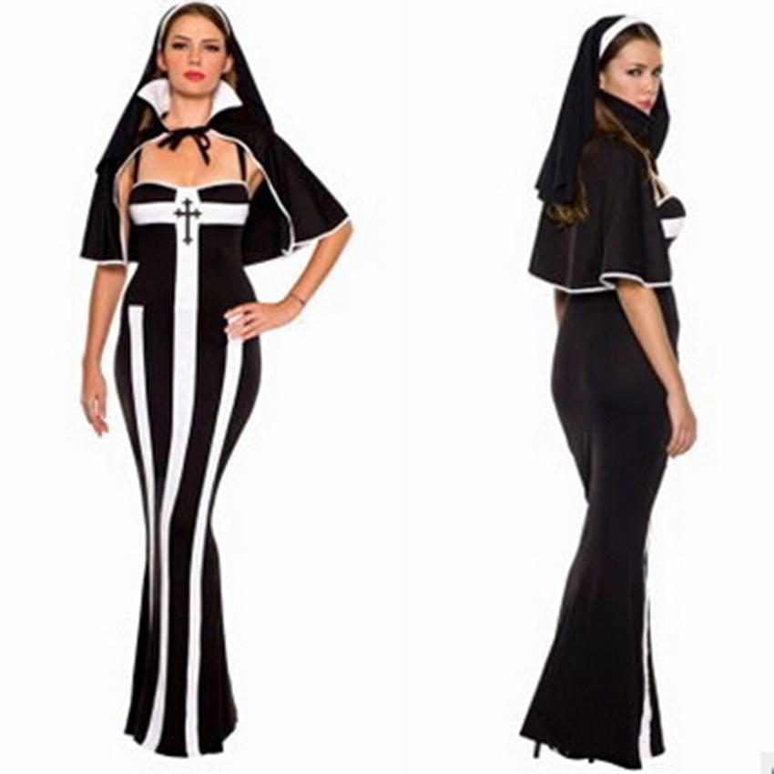 Sexy Nun Robe Cosplay Costume Costume Party mascarade féminin Costume rayé Nun Robe noire Robe Lady Slim