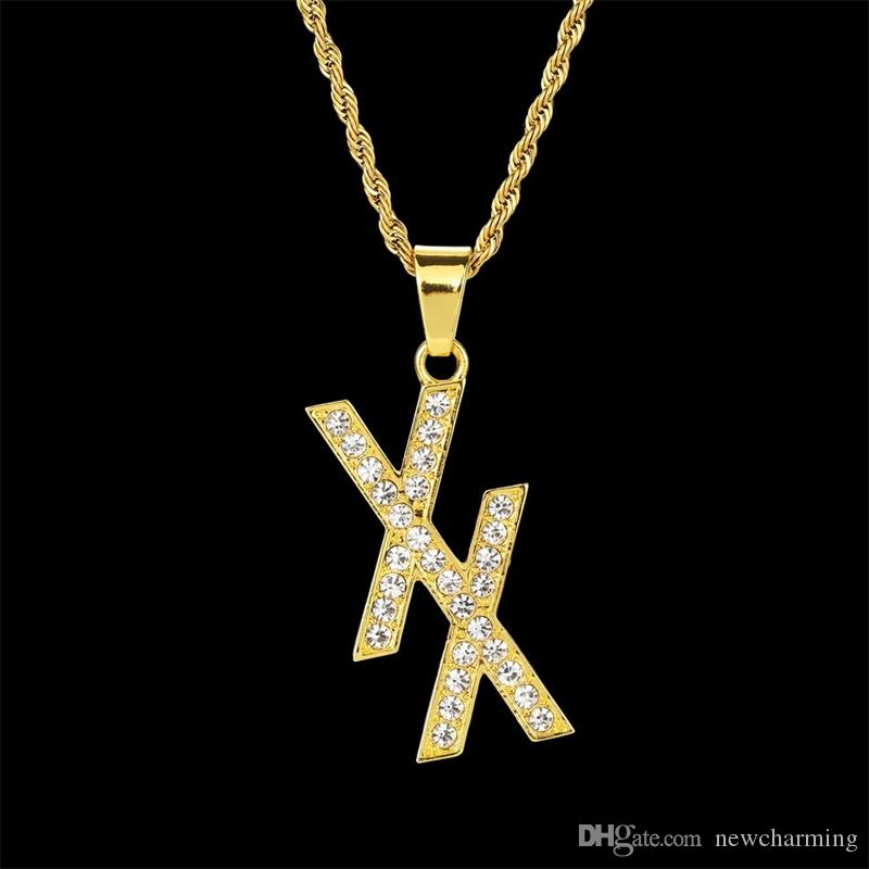 13677bb3b7f Wholesale 2019 New Arrive Rhinestone Double XX Letter Pendant Necklaces For  Men Gold Plating Metal HipHop Jewelry Gift Gold Necklace For Men Jewellery  From ...