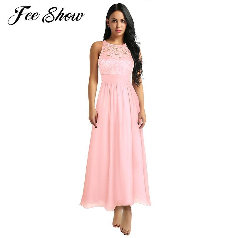 ea4a0c9d1822 Women Sleeveless Wedding Party Dress Vestido De Festa Side Slit Embroidered  Floral Lace Chiffon Bridesmaid Long Dress Prom Gowns Corset Dresses Dresss  From ...