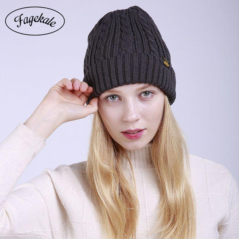 58a6f022fa9 FAGEKALE Autumn And Winter Warm Soft Girl Hats Stylish Female ...