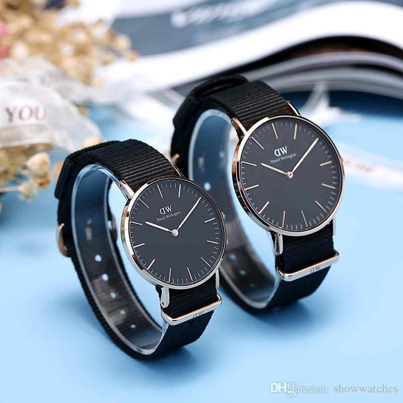 80ebbd70de Top luxury watch new fashion Montre de luxe Daniel watches men 40MM leather  watch Women 36MM nylon dress watch original movement With box