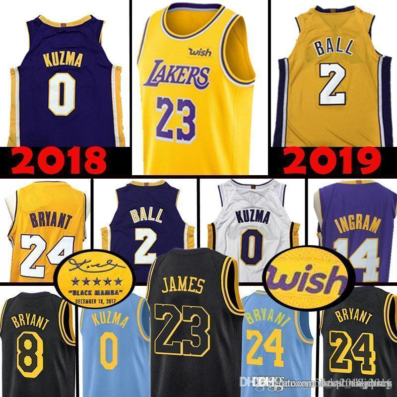 64bb9f5d907 2019 Top Quality Los Angeles 23 LeBron James Lakers 2 Lonzo Ball 0 Kyle  Kuzma Jersey 14 Brandon Ingram 8 24 Kobe Bryant Basketball Jerseys 2019  From ...