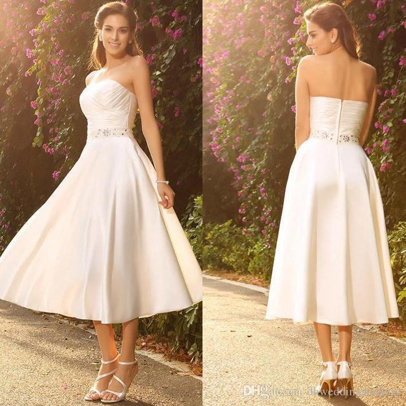 Elegant Sweetheart Mini Short Wedding Dress A Line Weddin Gowns Satin Beach Country Bridal Dress with Sash de noiva Custom