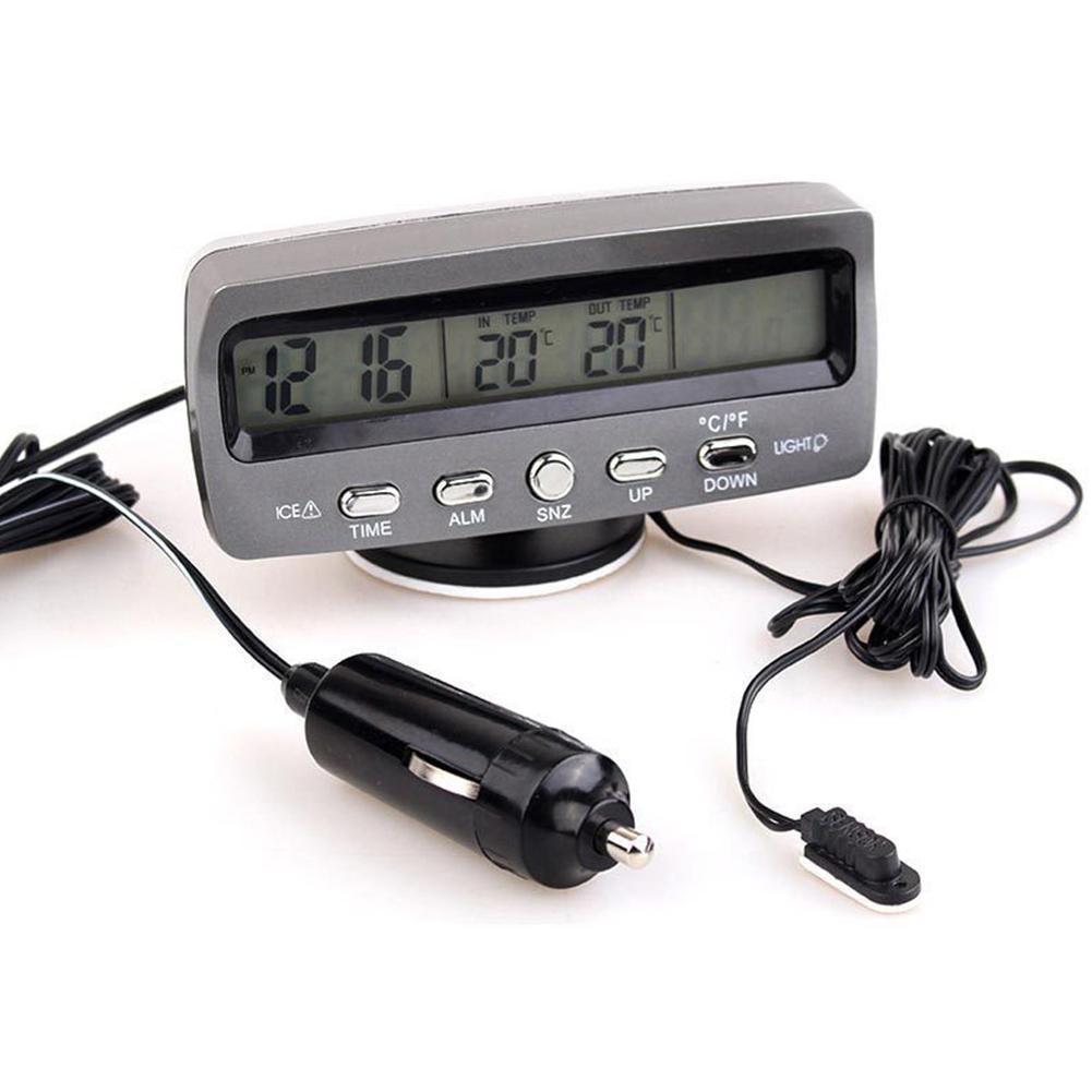 Accessoires auto ESden Mini thermomètre numérique pour voiture avec écran LCD 12 V et capteur de câble 1,5 m