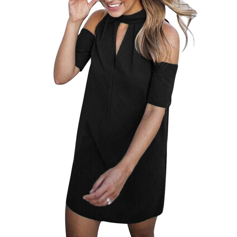 0bbdb30bb44d Women Summer Dress Fashion Cut Out Choker Open Shoulder Short Sleeve Shift  Dress Short Sleeve Solid Bow Tie Dress #BF All White Summer Dress Party  Dress ...