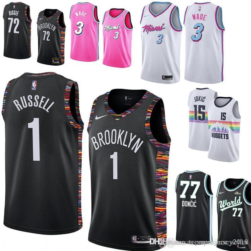 check out 3f7f2 b950d Brooklyn 1 Nets D'Angelo 1 Russell Black Jersey Miami 3 Heat Dwyane 3 Wade  Minnesota 25 Timberwo Derrick 25 Rose Basketball Jerseys