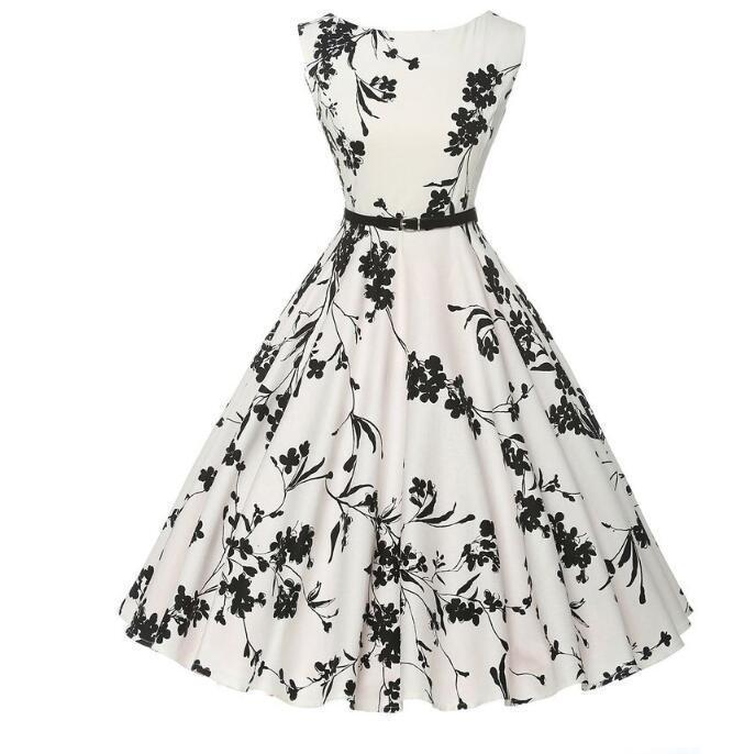 57fedcbb1a92b Summer women dress plus size long vintage dress Audrey Hepburn Swing Floral  Women Retro Rockabilly 50s 60s Vintage Dress