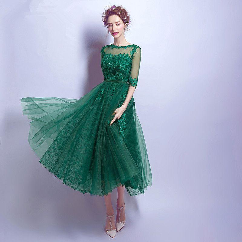 Vestidos verdes cortos de encaje