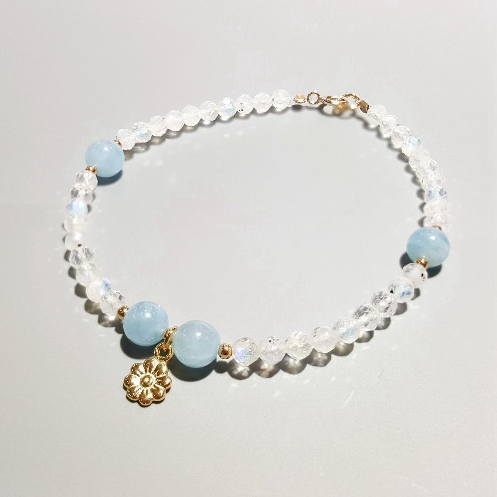 d42e496ad3ed LiiJi Unique Aquamarines Natural Piedra de luna 925 Plata de ley de color  dorado Pulsera con dijes de flores para mujeres niños envío de la gota