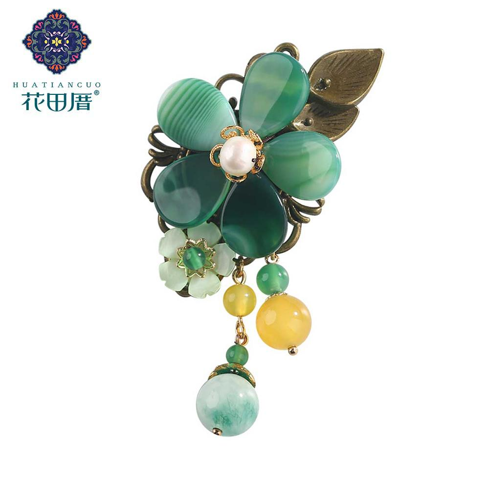 Ethnic Handmade Green Flower with Pearl Brooch Shell Flower Semi-precious Stone Dangle Pins Brooches Women Accessories XZ-18090