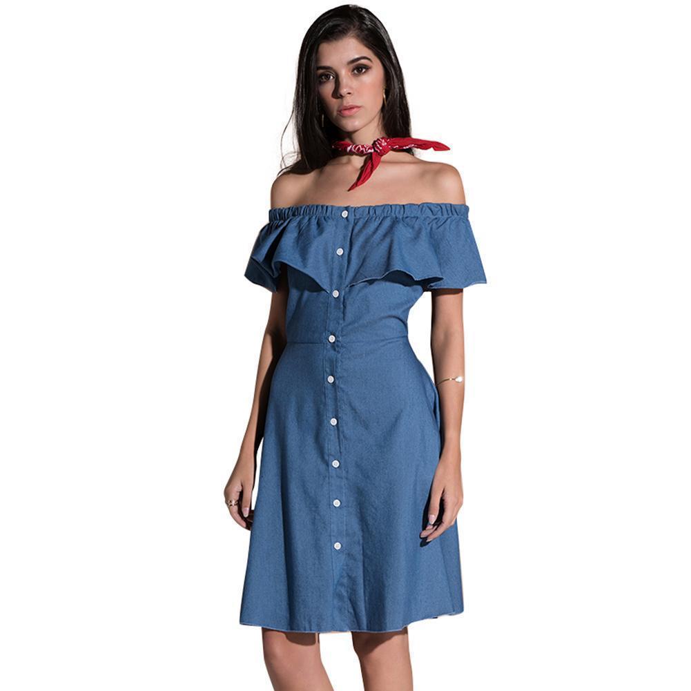 3a89edc91 Compre Mulheres Sexy Midi Denim Vestido Fora Do Ombro Ruffled Botões Vestido  De Verão 2019 Festa De Cintura Alta A Linha Jean Vestido Azul Vestidos De  ...