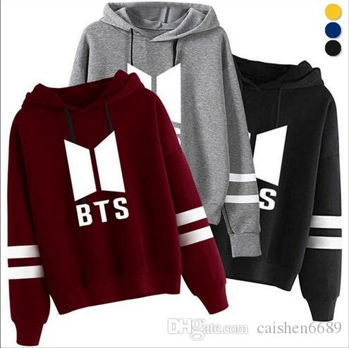 3c3642c8d4b 2019 BTS Hoodies Women New Kpop BTS Bangtan Autumn Fleece Hooded Sweatshirt  Harajuku Winter Hip Hop Letter Printing Outwear Plus Size From Caishen6689
