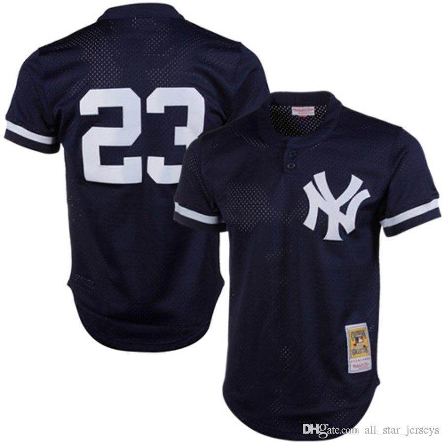 save off 0214a d0b5a Mens 23 Don Mattingly Yankees Jersey New York Navy Retro Mesh 99 Aaron  Judge 42 Mariano Rivera 51 Bernie Williams Baseball Jerseys
