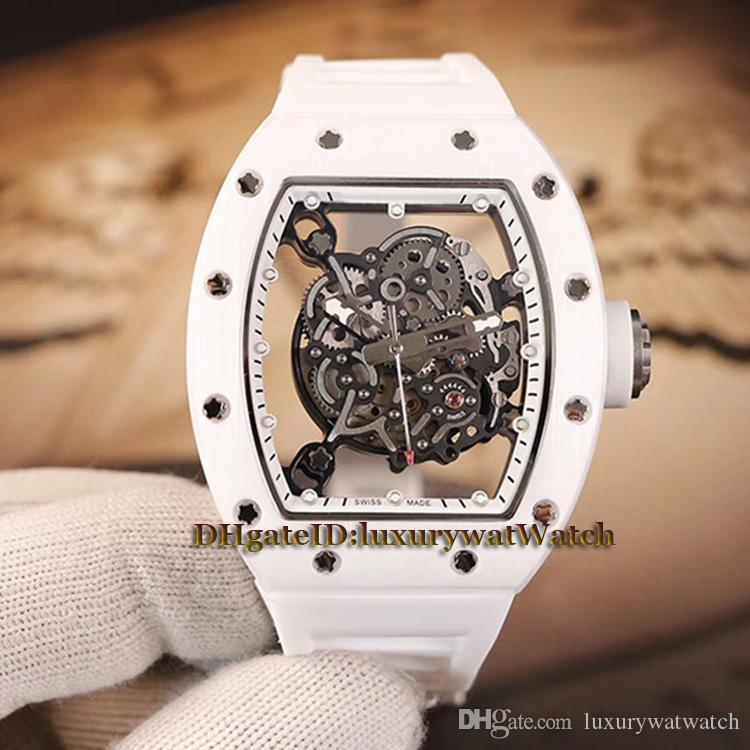 Top-level version RM055 Skeleton Dial White Nano-ceramic Composites Case Japan Miyota Automatic RM 055 Men Watch White Rubber Strap Watches