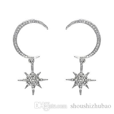 Big Luxury Sun Moon Stars Drop Earrings Rhinestone Punk Boho Vintage Statement Earrings for Women Jewelry E2670