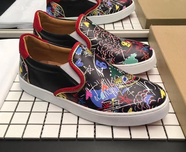 YDB wholesale low-heeled leather 2018 new red bottom Graffiti shoes men\\'s fashion rivets sneakers famous brand with box free shipping