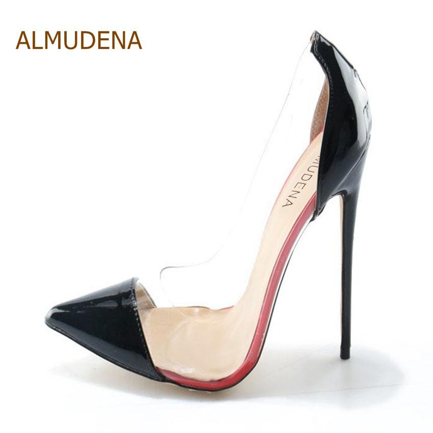 d6d3c43cc20b ALMUDENA Real Photo Cost Pirce Stiletto Heel Pumps Black Patent Leather Transparent  PVC Patchwork Dress Shoes Pointed Toe Pumps Blue Shoes Shoe Boots From ...