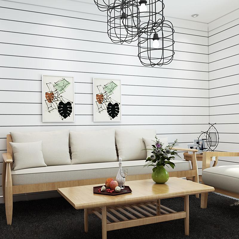 Modern Simple Wall Paper Black And White Horizontal Stripes