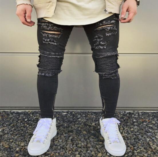 88d5afc3442 GMANCL Brand Designer Skinny Ripped Jeans Men Hi-Street Mens ...