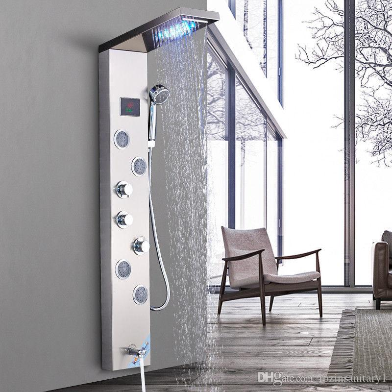 Shower Equipment Stainless Steel Bath Shower Faucet Wall Mounted Tower Shower Column Panel Mixer Water Tap With Body Spa Massage Jets Nozzle Shower Faucets