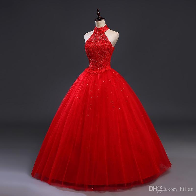 compre blanco / marfil rojo halter bead lace applique vestido de