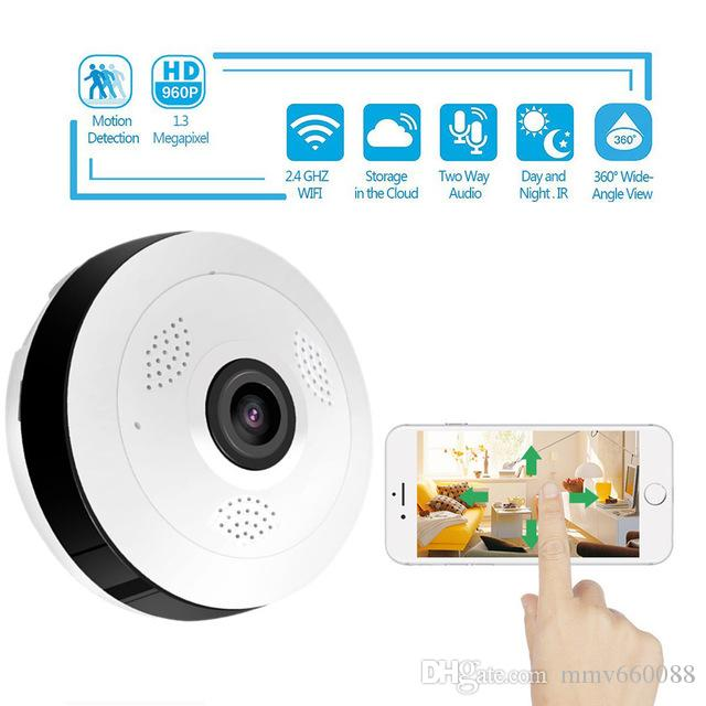 360 Degree Panoramic Wide Angle MINI Cctv Camera V380 Smart IP Camera  Wireless Fisheye Lens 1080P Security Home mini Wifi IP Camera pet CAM