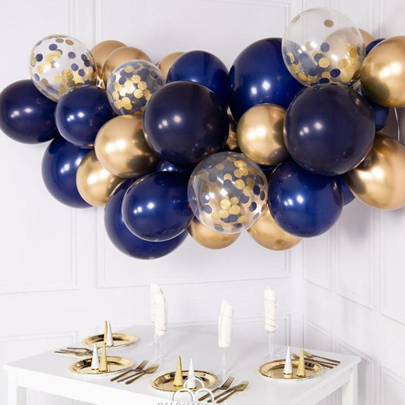 Diy Balloons Kit Navy Blue Gold Metal Chrome Balloon