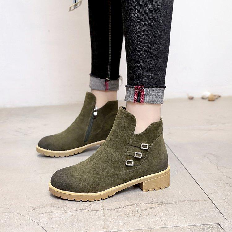 a81271541f1 2018 Women s Winter Ankle Boots Female Belt buckle Snow Boot Ladies Casual  Low-heel Shoes Woman Footwear