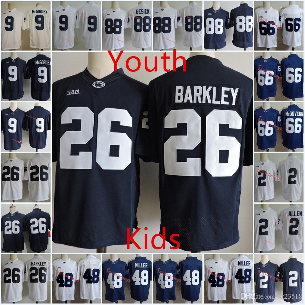 low priced efcb0 d4eb2 Youth Penn State Nittany Lions Saquon Barkley Jersey Kids TRACE McSORLEY  Miles Sanders Connor McGovern Mike Gesicki Shareef Miller Jersey