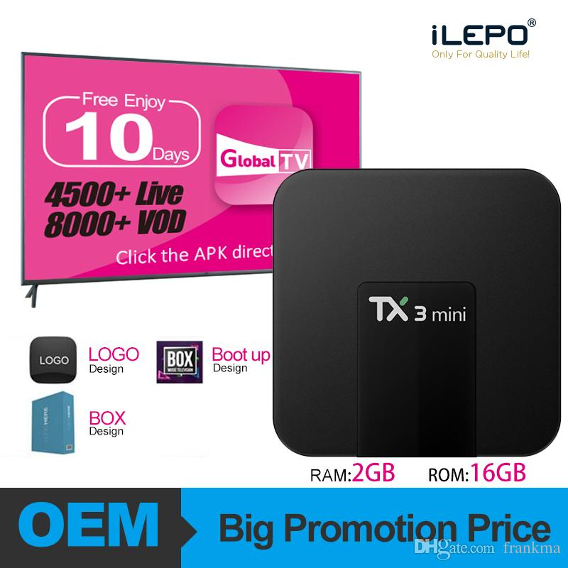 TX3 Mini Android 7.1 TV Box da 2 GB IPTV 16GB Amlogic S905W Android Box HD 4K Lettore multimediale in streaming Meglio MXQ Pro 4k