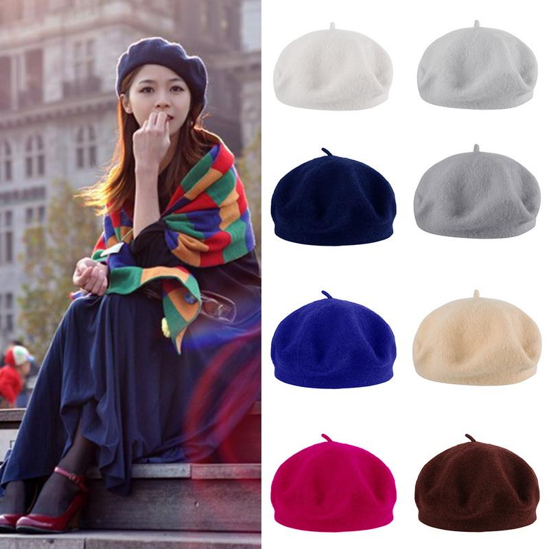 6e83a7f6f10c4 Compre Venta Caliente De Lana Suave De Color Sólido Sombrero De Boina De  Las Mujeres De Invierno Mujer Capo Caps All Matched Vintage Warm Walking  Hat Cap ...