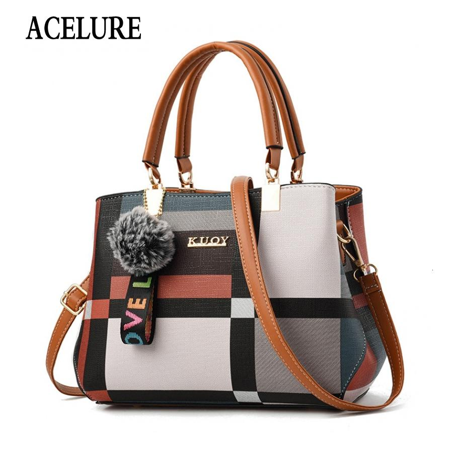 ACELURE New Casual Plaid Shoulder Bag Fashion Stitching Wild Messenger Brand Female Totes Crossbody Bags Women Leather Handbags V191116