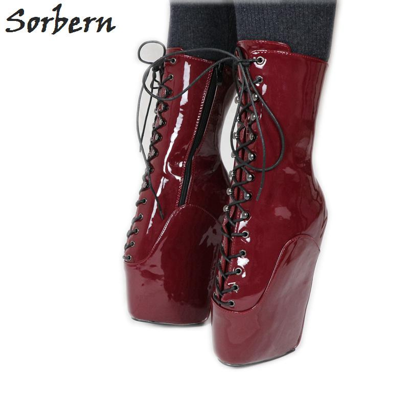 4b688586c19 Wine Red Patent Short Boots Women Sexy Fetish Ballet Heelless Pinup Shoes  Ballet Wedge Sm Newbies Calf High Booties