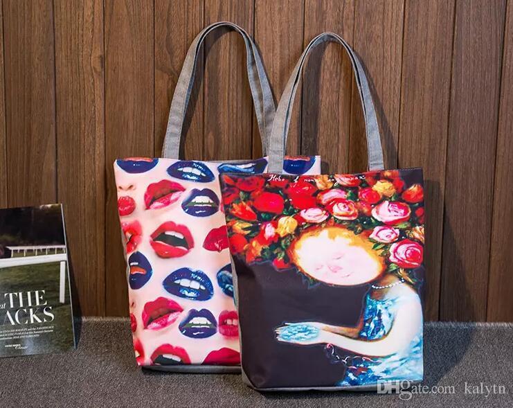 b1d3859fd4514 Color Lip Print Women Canvas Handbag Casual Tote Bag Large Lady Handbags  Women Solid Shoulder Bag Canvas Bag Sac A Main Cute Bags Purses For Women  From ...