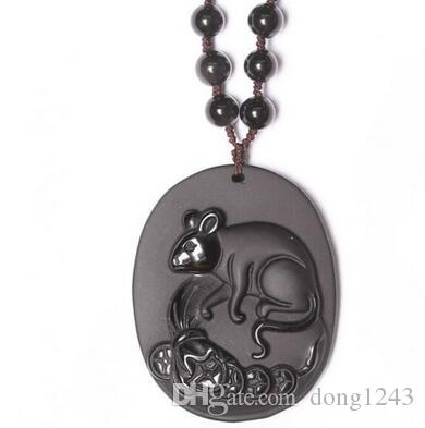 wonderful work handmade black natural obsidian carved chinese zodiac rat lucky pendant necklace fashion jewelry amulet