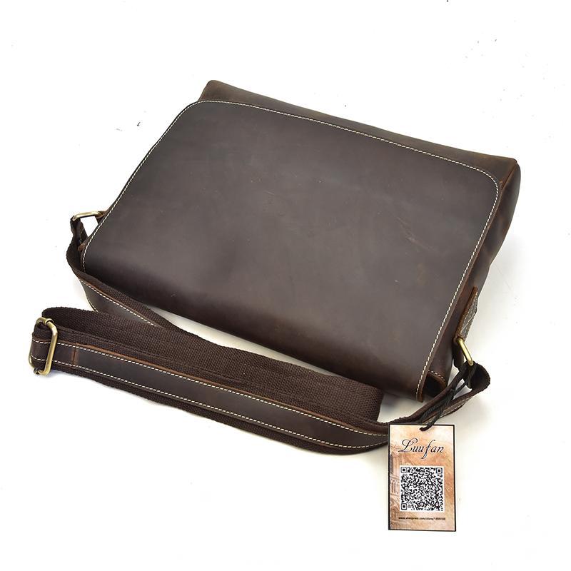 Luufan Shoulder Bag Messenger Bag Men s Genuine Leather Classic Casual Crazy  Horse Leather Flap Zipper Books A4 12   PC Satchel Crossbody Bags Cheap ... 6ce774a961289