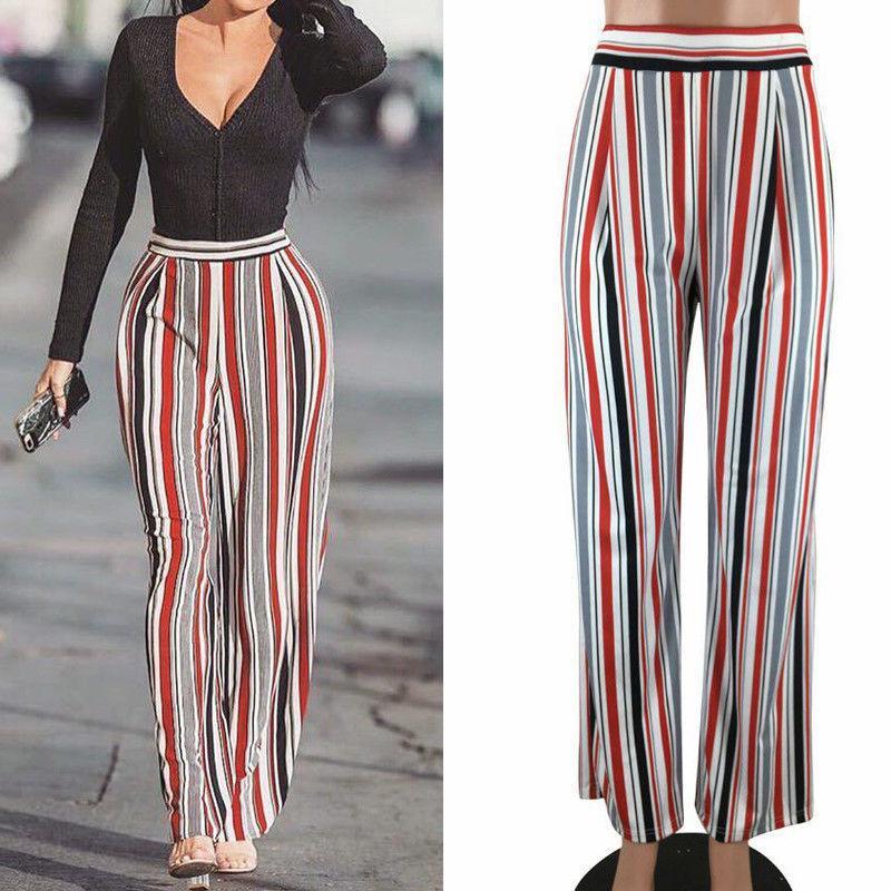1e25ad6f4fde Pantalones de las mujeres señoras de la pierna ancha de cintura alta larga  suelta pantalones casuales pantalones a rayas multicolor de la nueva moda  ...