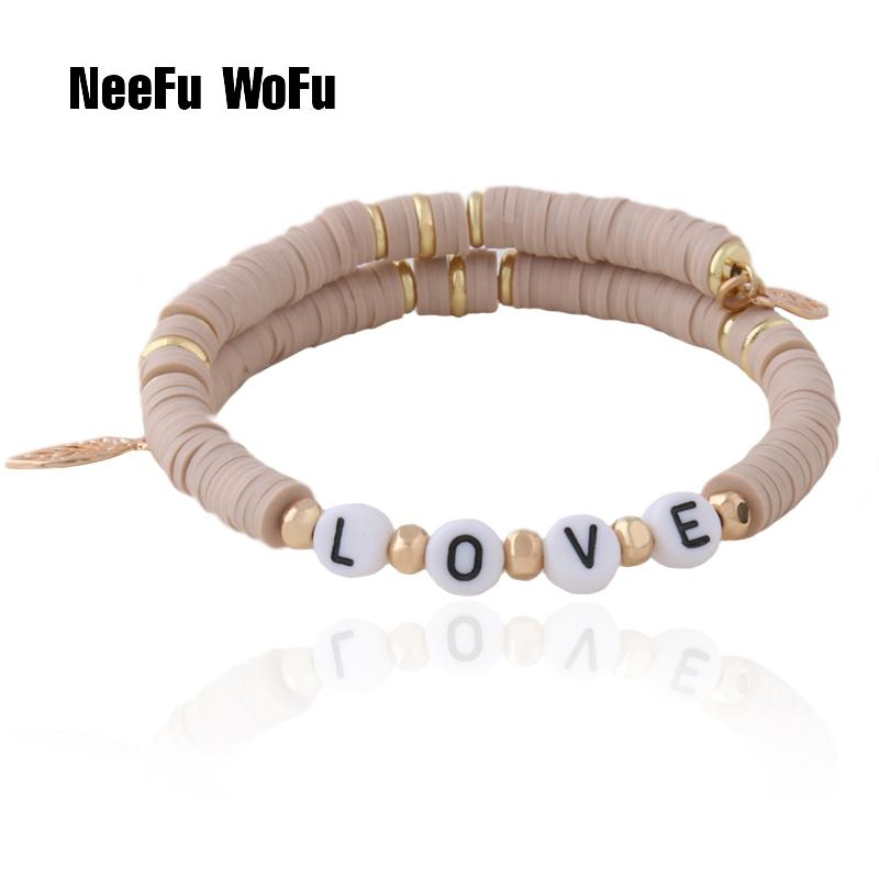 NeeFu WoFu DIY custom name bead Bracelet Bohemian Soft pottery Bracelets For Women Nationality stainless steel Bracelet Jewelry
