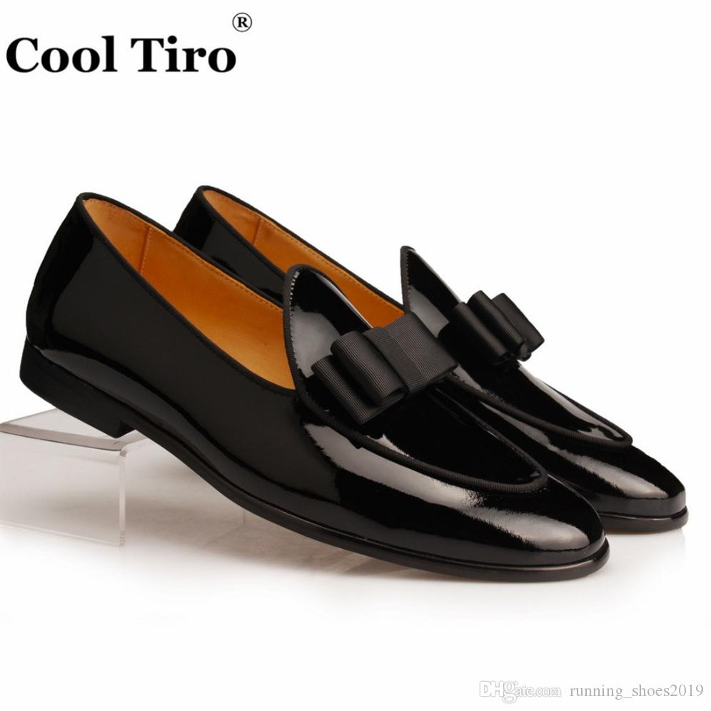 80fbd3626ad9 Cool Tiro Black Patent leather Loafers Men Slippers Bow Tie Moccasins Man  Flats Wedding Men's Dress Shoes Casual slip on shoes #175742