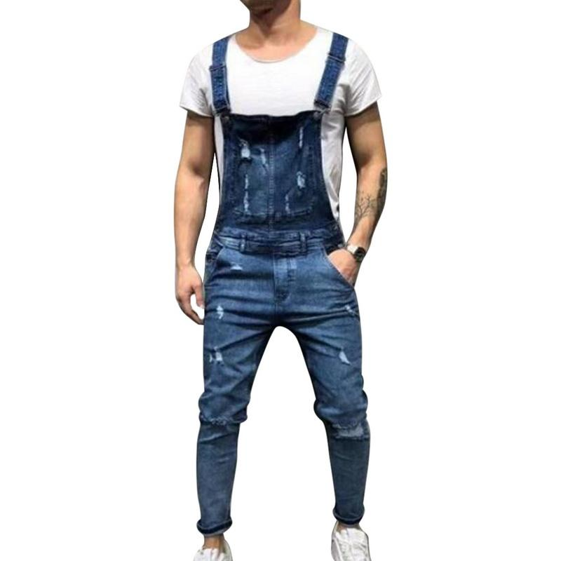 CALOFE Fashion Ripped Hole Jeans Jumpsuits Men Casual Streetwear Distressed Denim Overalls Hip Hop Suspenders Pants US Size
