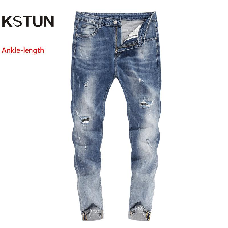 check out 5a513 fad24 2019 Men S Jeans Retro Stretchy Slim Fit Tapered Distressed Torn Washed  Skinny Ripped Biker Male Casual Pant Cuffs Painted Crop Jeans From  Xisibeauty, ...